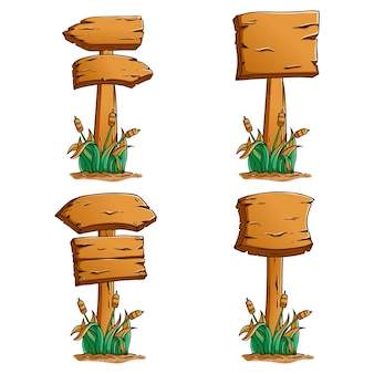 Ensemble de panneaux en bois avec style coloré dessinés à la main