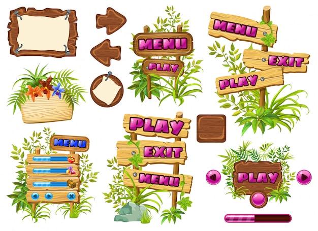 Ensemble de panneaux de jeu en bois avec des feuilles de liane.