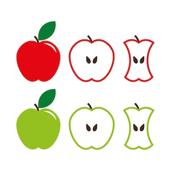 Ensemble de panneaux de pomme verte et rouge, fruits entiers et coupés. illustration vectorielle