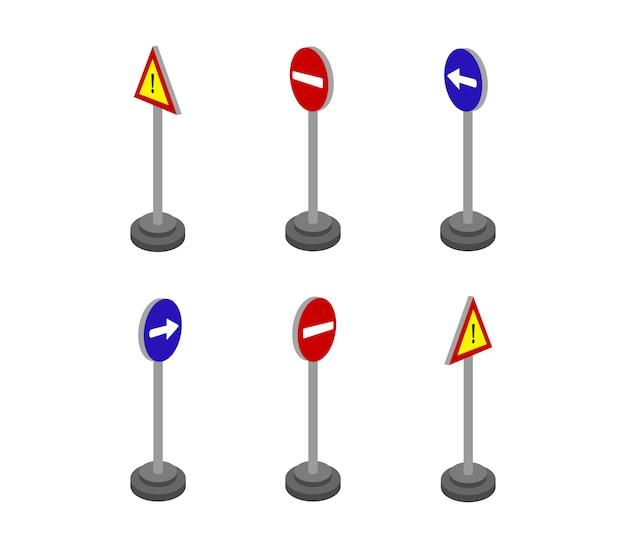 Ensemble de panneaux routiers isométriques