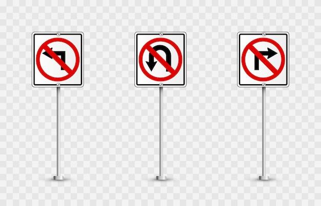 Ensemble de panneaux routiers. panneaux routiers . signes d'interdiction.
