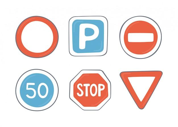 Ensemble de panneaux routiers. symboles de trafic