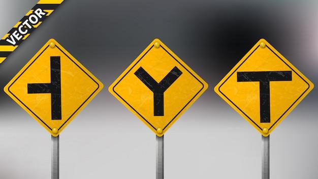 Ensemble de panneaux de signalisation d'avertissement