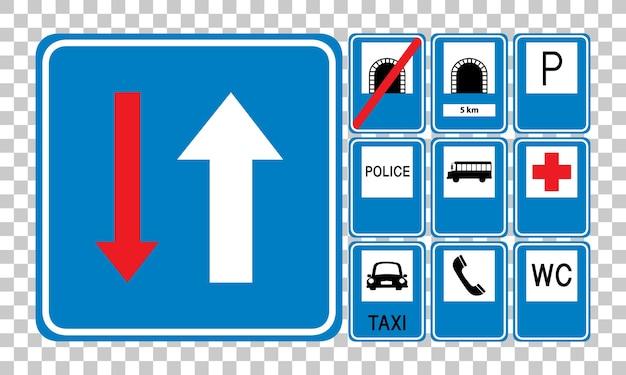 Ensemble de panneaux de signalisation bleus isolés sur fond transparent
