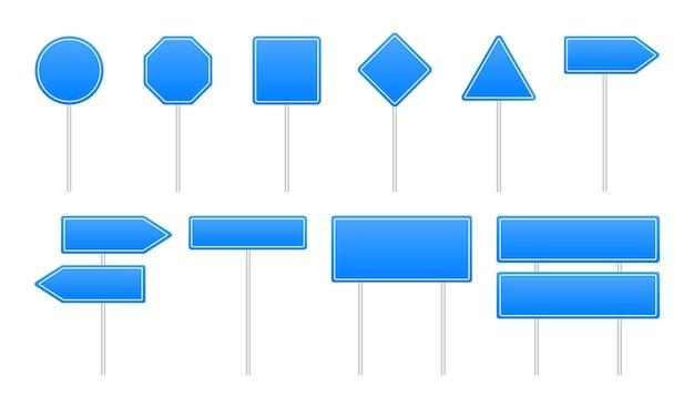 Ensemble de panneaux de signalisation bleus. panneaux de signalisation.