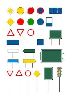 Ensemble de panneaux de signalisation différents vide vide sur blanc