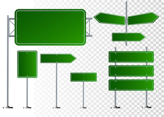 Ensemble de panneaux de signalisation isolés sur fond transparent. illustration