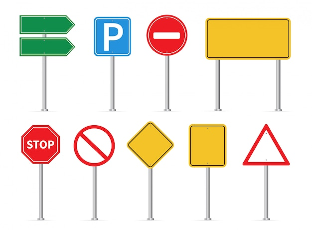 Ensemble de panneaux de signalisation. panneaux routiers