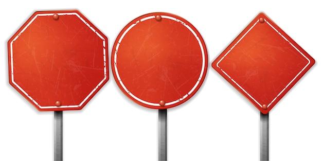 Ensemble de panneaux de signalisation rouges bruts