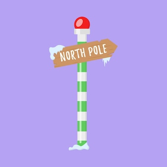 Ensemble de panneaux de signalisation de vacances en bois dans les pointeurs d'hiver de neige dans un style plat pour le pôle nord