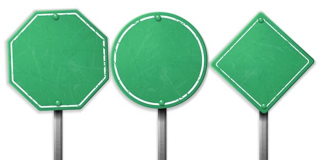 Ensemble de panneaux de signalisation vert cru