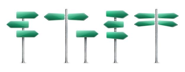 Ensemble de panneaux de signalisation verts réalistes isolé sur blanc