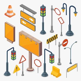 Ensemble de panneaux de signalisation vierge isométrique et feux de circulation