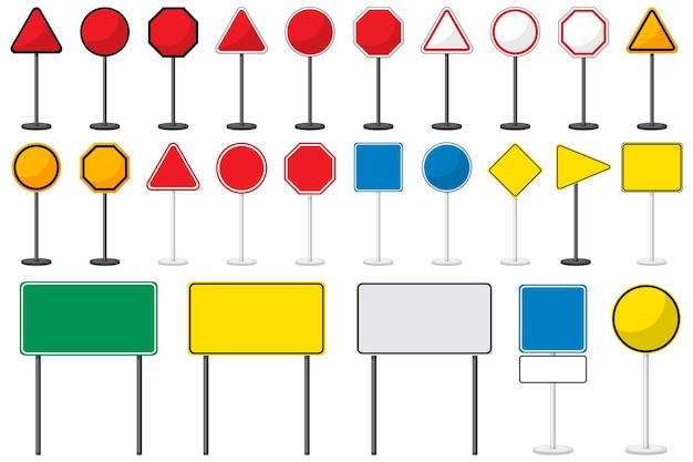 Ensemble de panneaux de signalisation vierges avec support isolé sur blanc