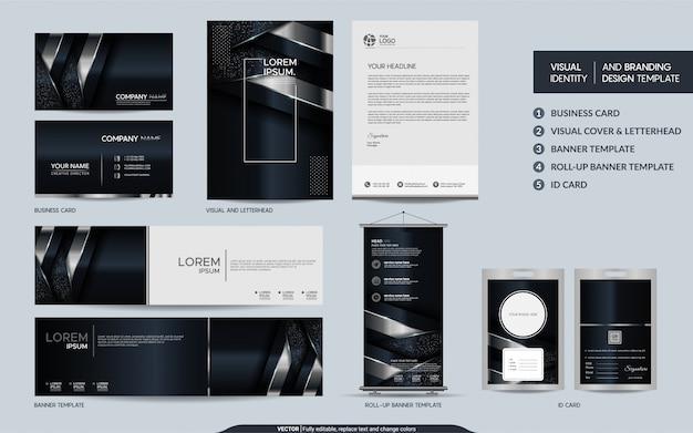 Ensemble de papeterie de luxe noir et argent et identité visuelle de la marque avec un fond abstrait de couches de recouvrement