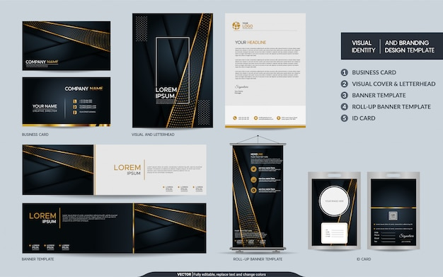 Ensemble de papeterie de luxe en or noir et identité visuelle de marque avec un fond abstrait de couches de chevauchement