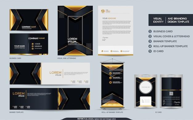 Ensemble de papeterie de luxe en or noir et identité visuelle de marque avec fond abstrait de couches de chevauchement.