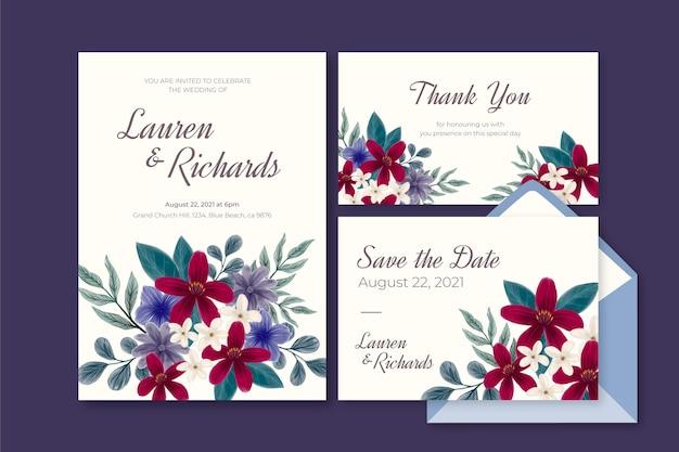 Ensemble de papeterie de mariage botanique dramatique aquarelle