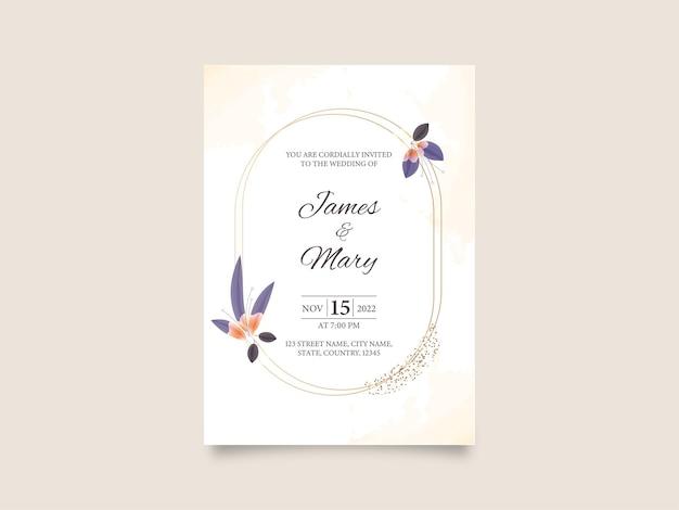 Ensemble de papeterie de mariage carte d'invitation d'une page