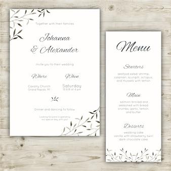 Ensemble de papeterie de mariage minimaliste d'une invitation et d'un menu