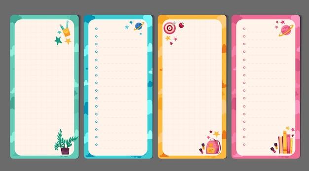 Ensemble de papeterie pour enfants avec des listes de tâches pour les planificateurs de mémo avec un modèle d'illustrations mignonnes pour les planificateurs