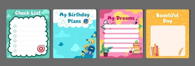 Ensemble de papeterie pour enfants avec modèle de listes de tâches pour les planificateurs de mémo pour les listes de contrôle de l'agenda des planificateurs