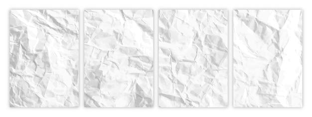Ensemble de papier blanc froissé au format a4. feuilles de papier vides froissées avec ombre pour affiches et bannières. illustration vectorielle