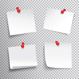 Ensemble de papier blanc vierge épinglé avec des punaises rouges sur fond transparent réaliste illustration vectorielle isolé