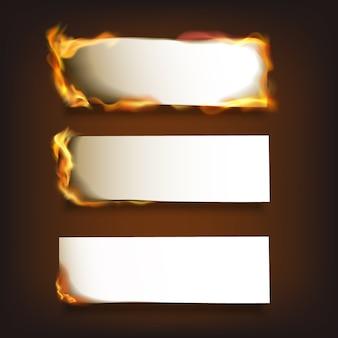 Ensemble de papier brûlant