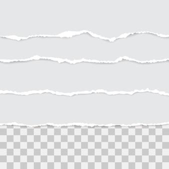 Ensemble de papier déchiré blanc. illustration avec des ombres