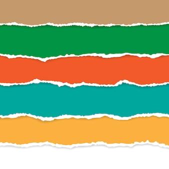 Ensemble de papier déchiré de couleur. illustration avec des ombres.