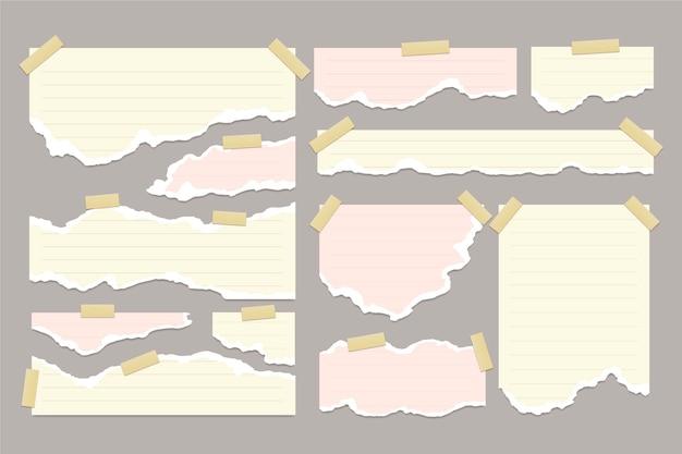 Ensemble de papier déchiré réaliste