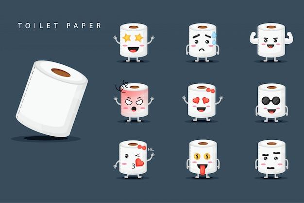 Ensemble de papier hygiénique mascotte mignonne