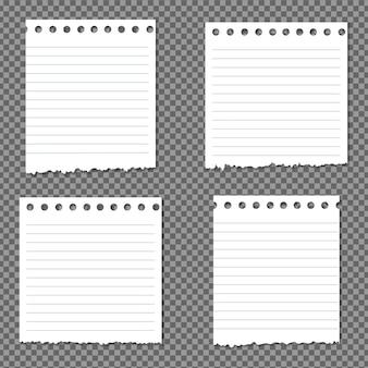 Ensemble de papier avec des ombres, page de papier réaliste.