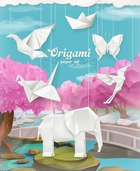 Ensemble de papier origami, fond