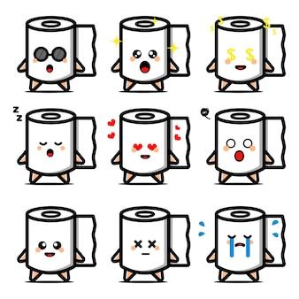 Ensemble de papier toilette mignon avec personnage de dessin animé d'expression
