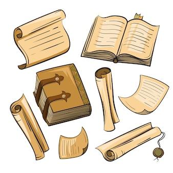 Ensemble de papier vintage, livres, parchemins. illustration dans le style du croquis.