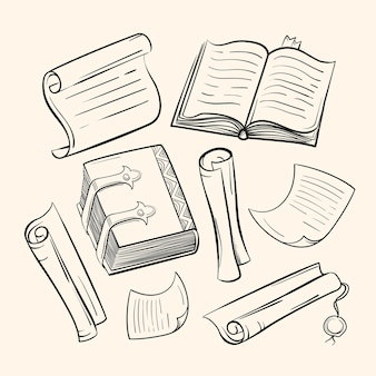 Un ensemble de papiers anciens, de livres, de parchemins. dessins dans le style d'esquisse.