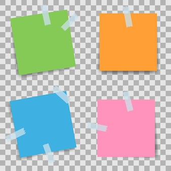 Ensemble de papiers à notes avec bandes adhésives