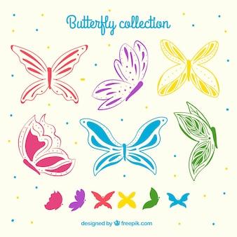 Ensemble de papillons colorés
