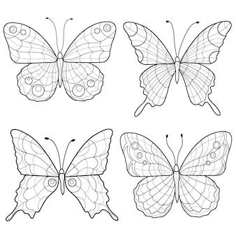 Ensemble de papillons noir et blanc. sketch.coloring book antistress pour enfants et adultes.