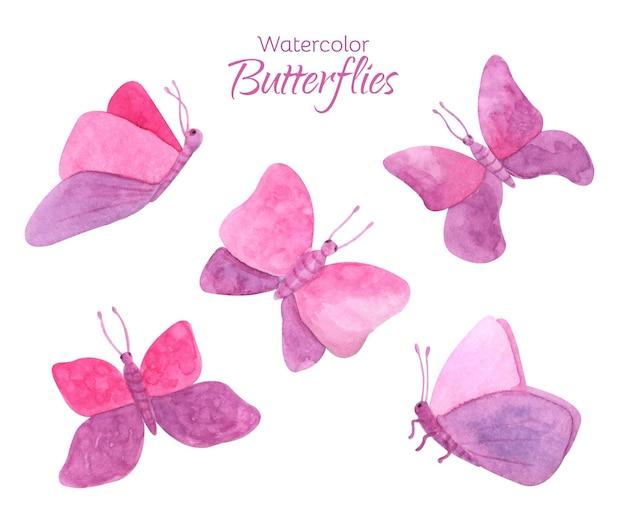 Ensemble de papillons roses aquarelle