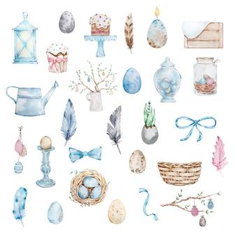 Ensemble de pâques aquarelle, kulich, oeufs de pâques, lanterne, nid et autres éléments de pâques mignons.