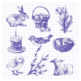 Ensemble de pâques. illustrations dessinées à la main