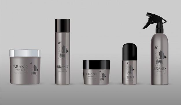 Ensemble de paquet en métal cosmétique vierge isolé sur gris