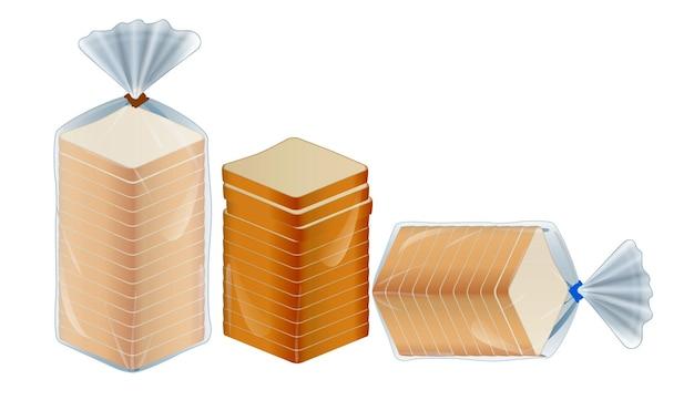 Ensemble de paquet de pain tranché ou de pain grillé emballé avec clip