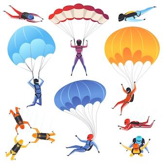 Ensemble de parapente et de parachutisme personnages