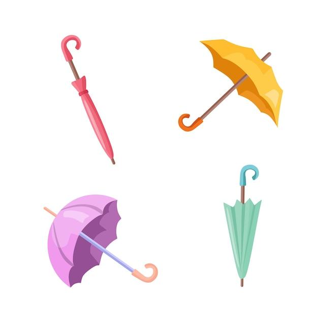 Un ensemble de parapluies assemblés et dépliés. illustration vectorielle.