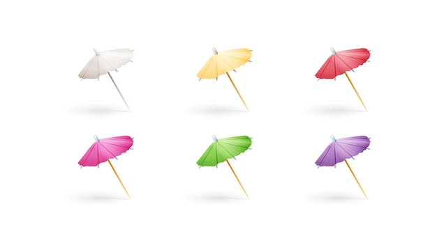 Ensemble De Parapluies Cocktail En Papier Multicolore Isolé Sur Fond Blanc Vecteur Premium