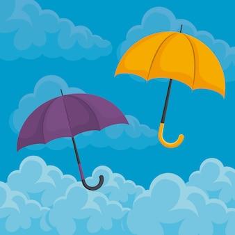 Ensemble de parapluies dans le ciel